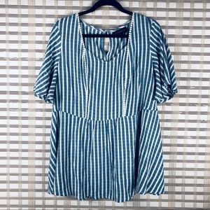 Lane Bryant babydoll striped top 14/16